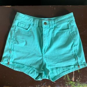 American Apparel Teal High-Waisted Shorts Sz 28/29